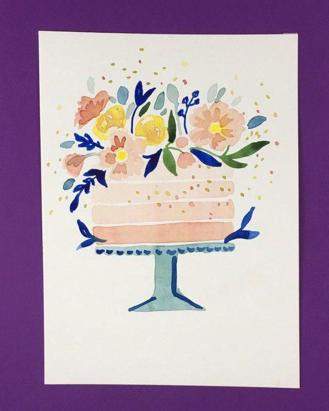 Watercolor Cakes: Create an Easy Birthday Card - image 1 - student project
