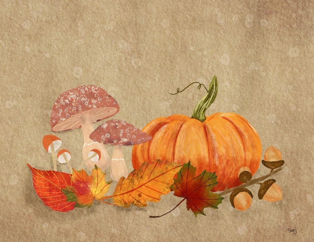 Pumpkins Mushrooms and Acorns - image 2 - student project