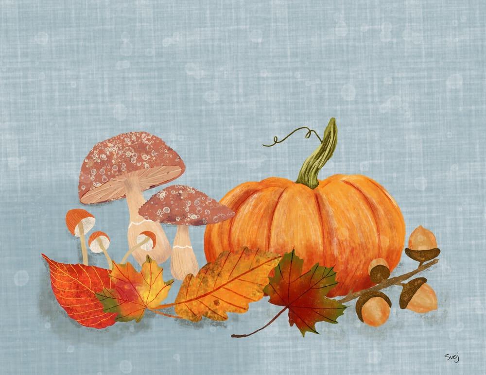 Pumpkins Mushrooms and Acorns - image 1 - student project