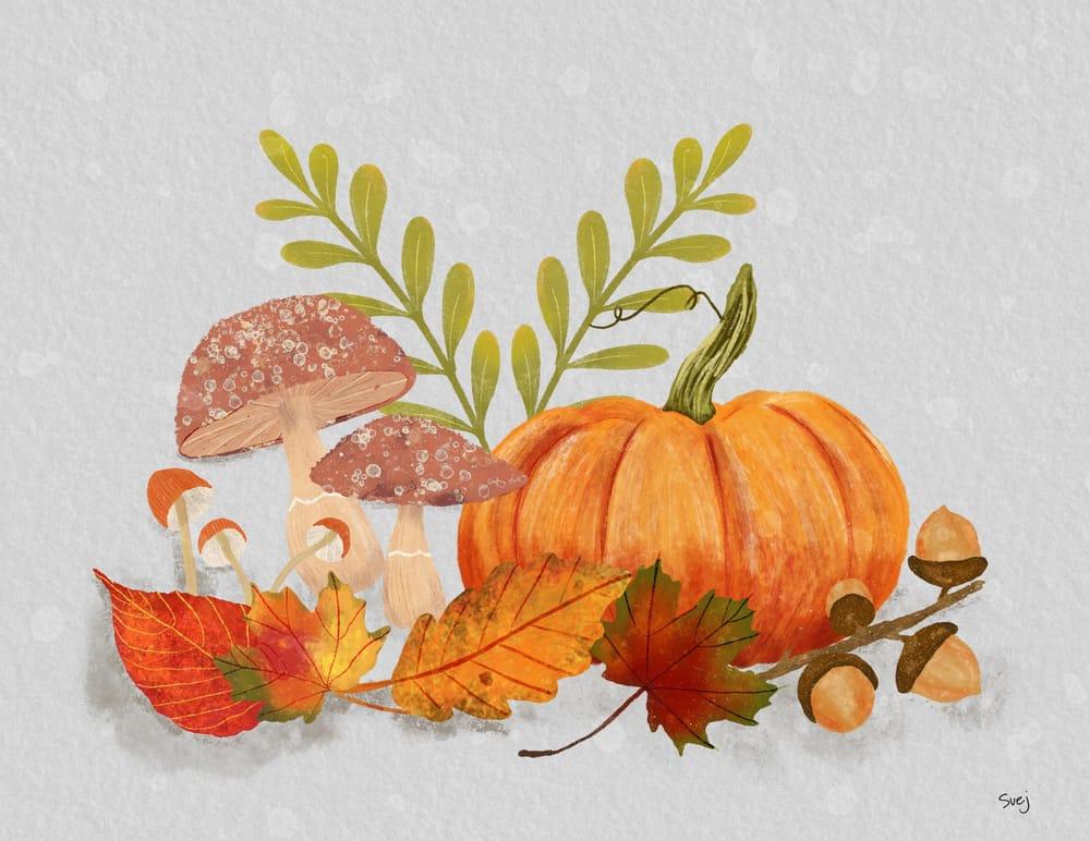 Pumpkins Mushrooms and Acorns - image 3 - student project