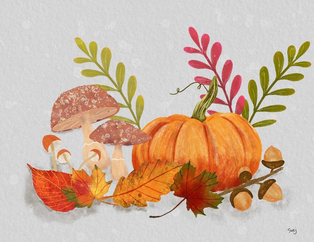 Pumpkins Mushrooms and Acorns - image 4 - student project