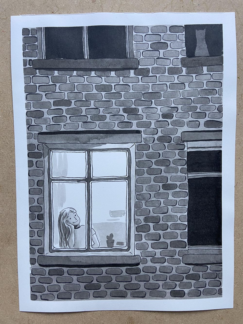 Window (ink and watercolour) - image 1 - student project