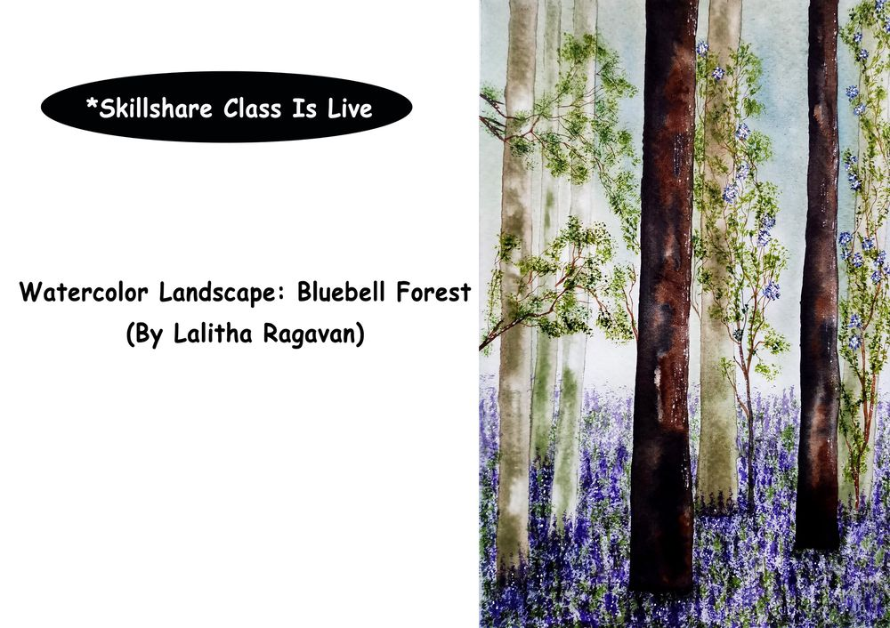 Watercolor Landscape: Bluebell Forest - image 1 - student project