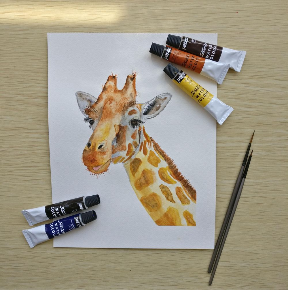 Watercolor Giraffe - image 1 - student project
