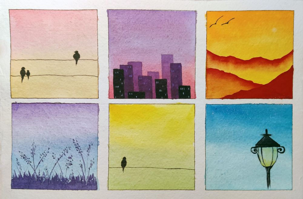Watercolor Mini Paintings - Composition and Elements - image 1 - student project