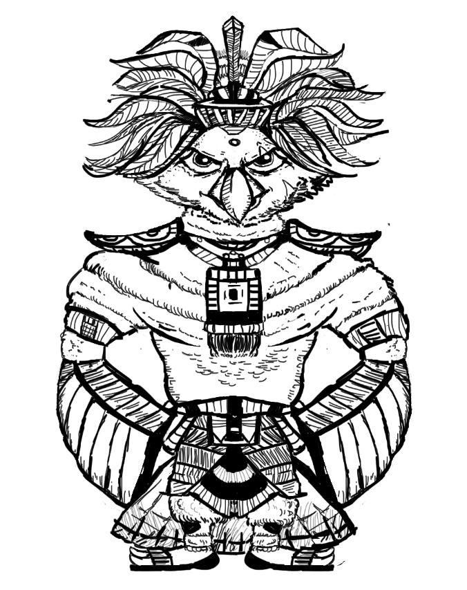 Maya God  hawk and warrior girl (project in progress) - image 7 - student project