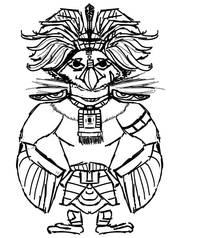 Maya God  hawk and warrior girl (project in progress) - image 6 - student project