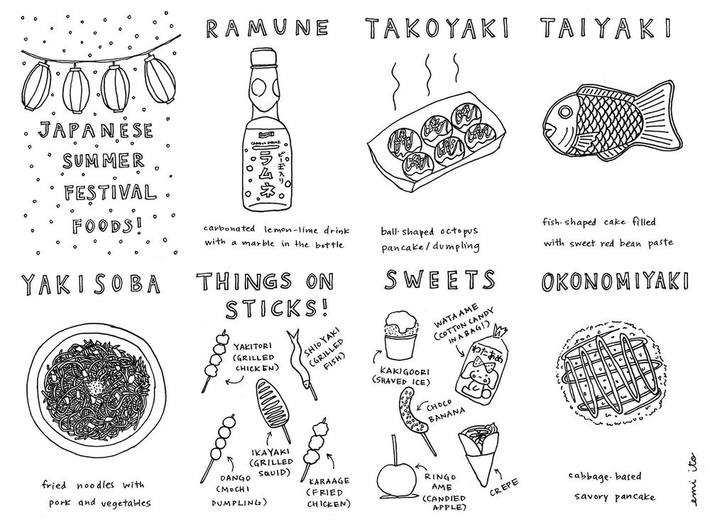 Japanese Summer Festival Foods Zine! - image 2 - student project