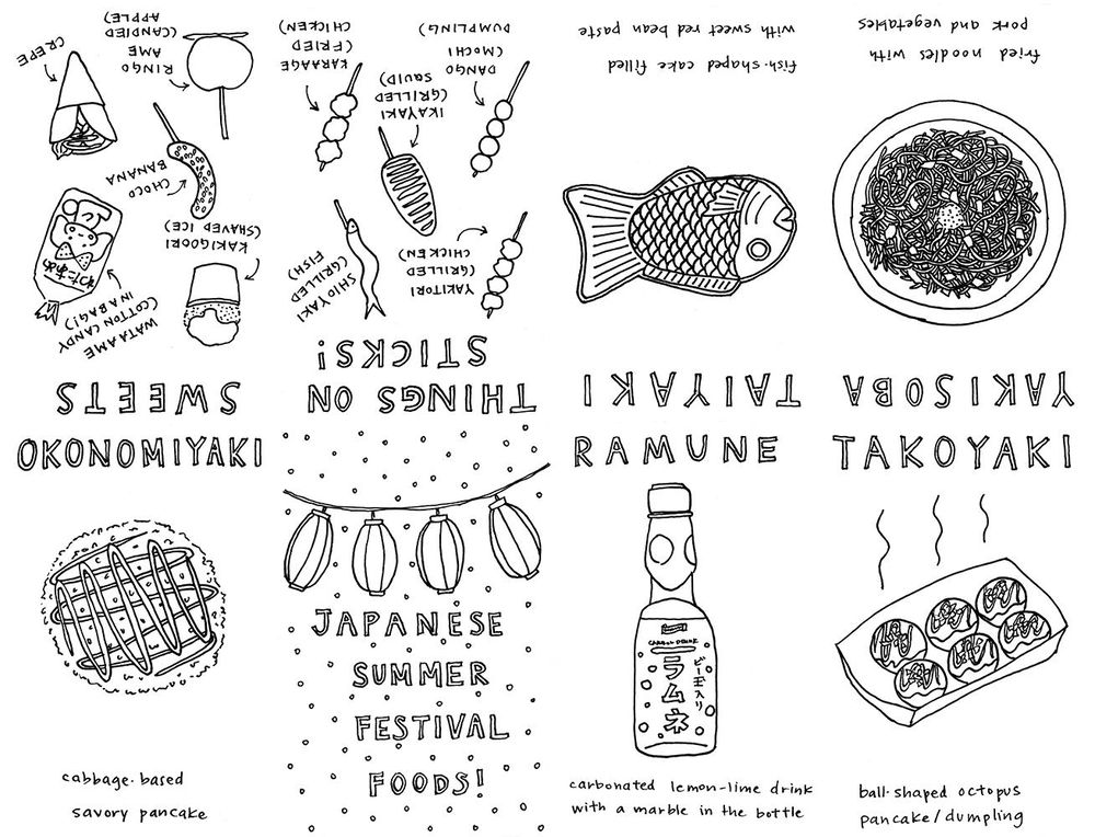 Japanese Summer Festival Foods Zine! - image 3 - student project