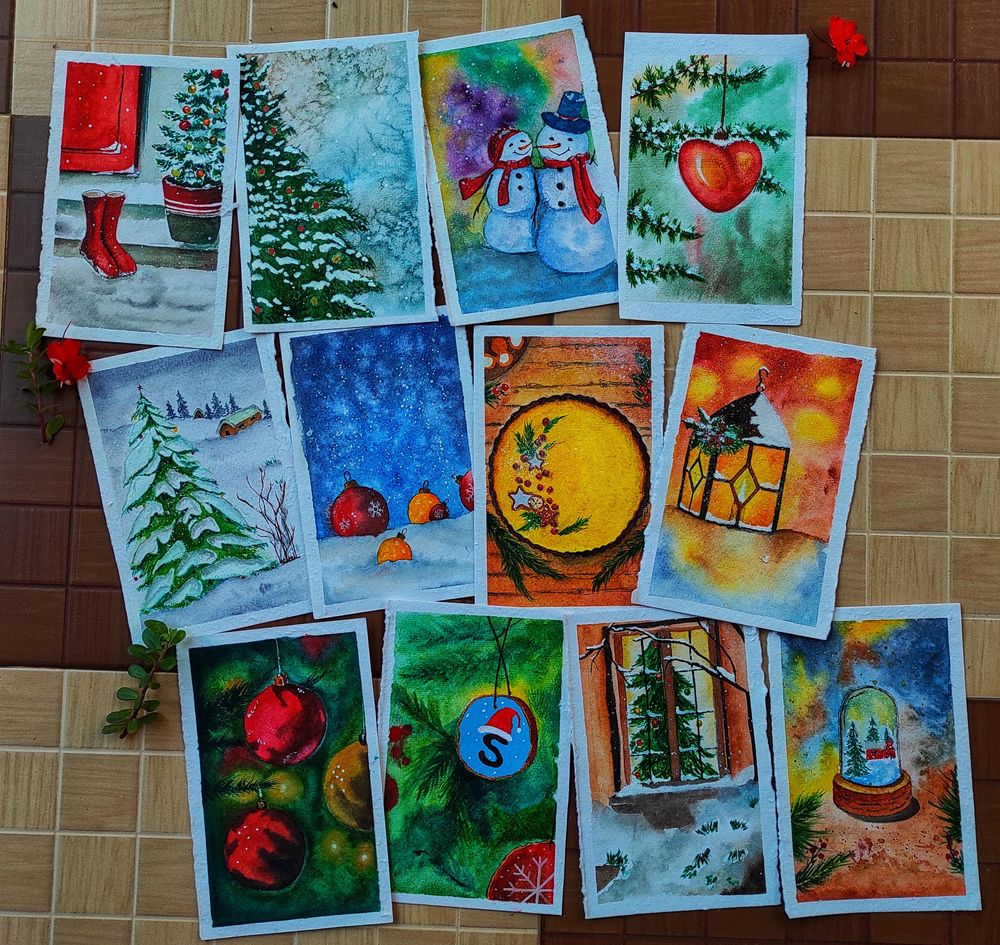 countdown to christmas with watercolour - image 1 - student project