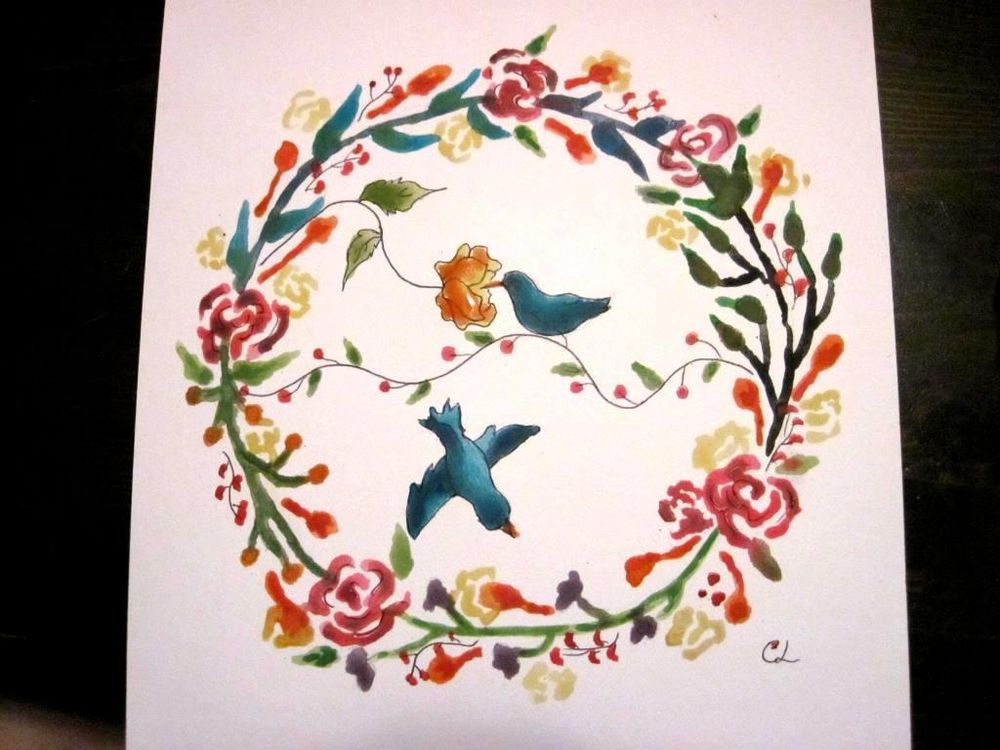 Water Color Wreath - image 2 - student project