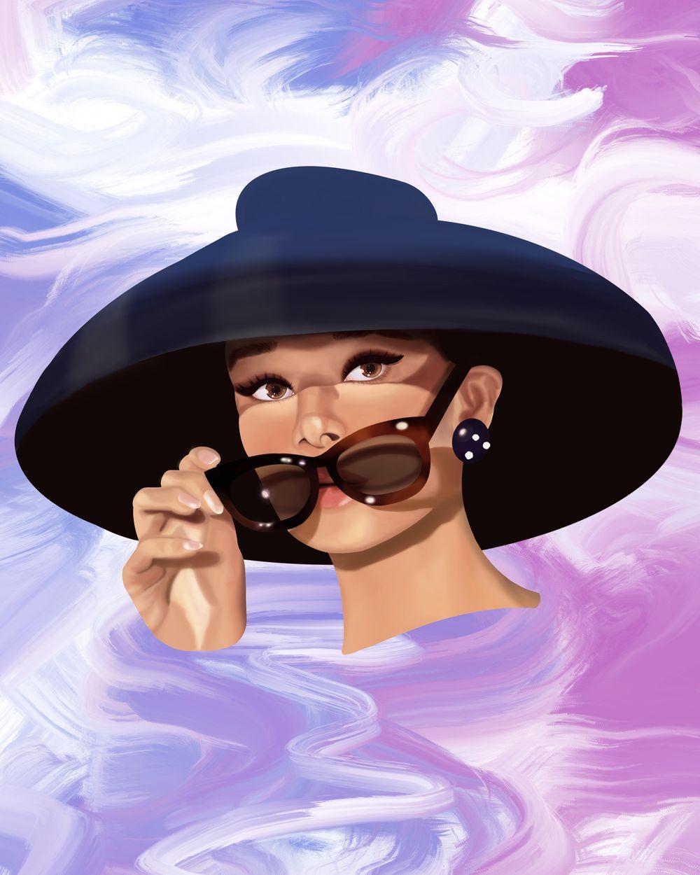 Audrey Hepburn Portrait - image 2 - student project
