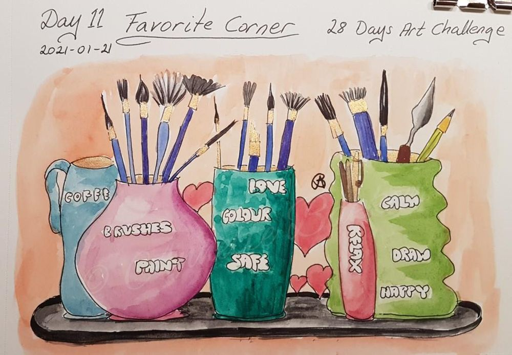 Annette  K. 2021-01-11 start. Self-Care 28-Day Art challenge. - image 4 - student project