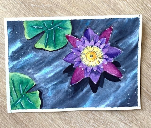 Watercolor Lotus and Water Lily - image 2 - student project