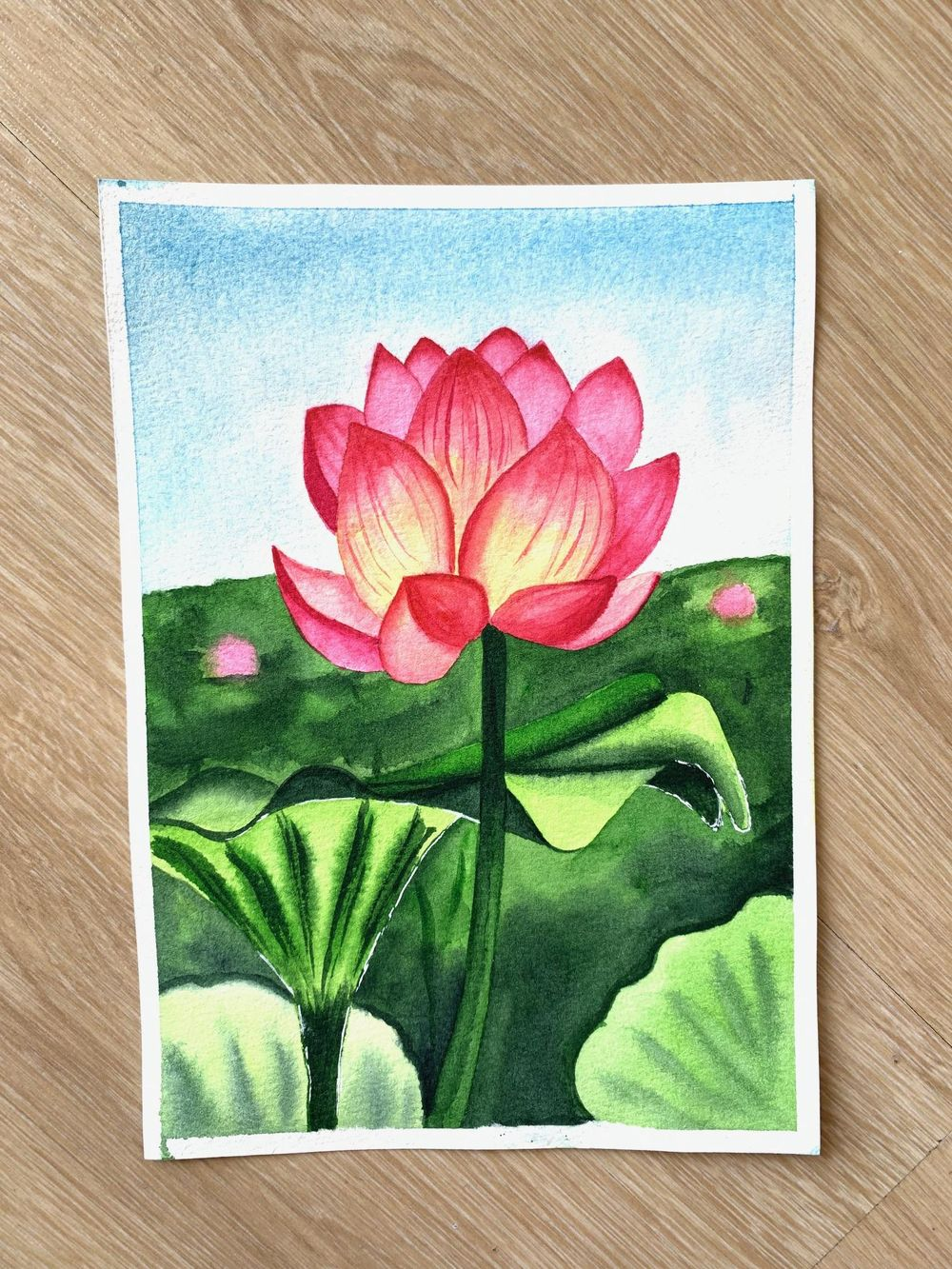 Watercolor Lotus and Water Lily - image 1 - student project