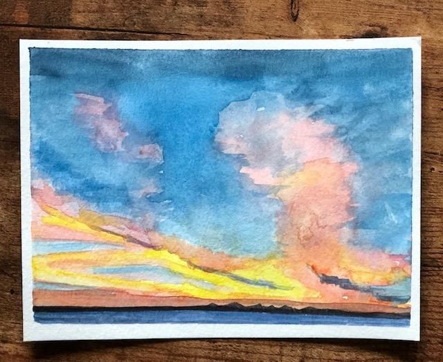 Painting Watercolor Sky and Clouds - image 4 - student project