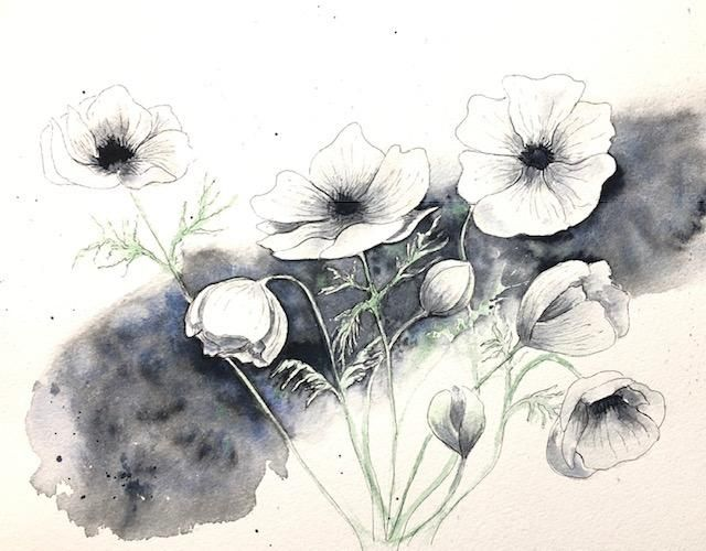 white flower watercolor - image 1 - student project