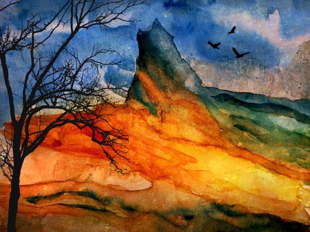 Watercolor Mountain Landscape Textures - image 5 - student project