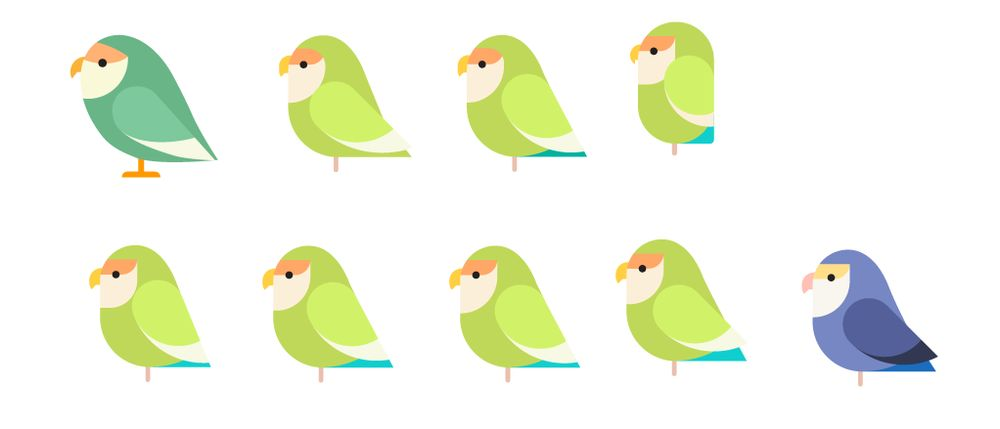 Lovebirds geometric style - image 3 - student project