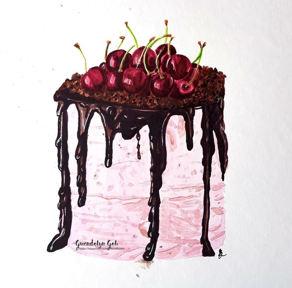 Chocolate glaze cherry cake - image 1 - student project