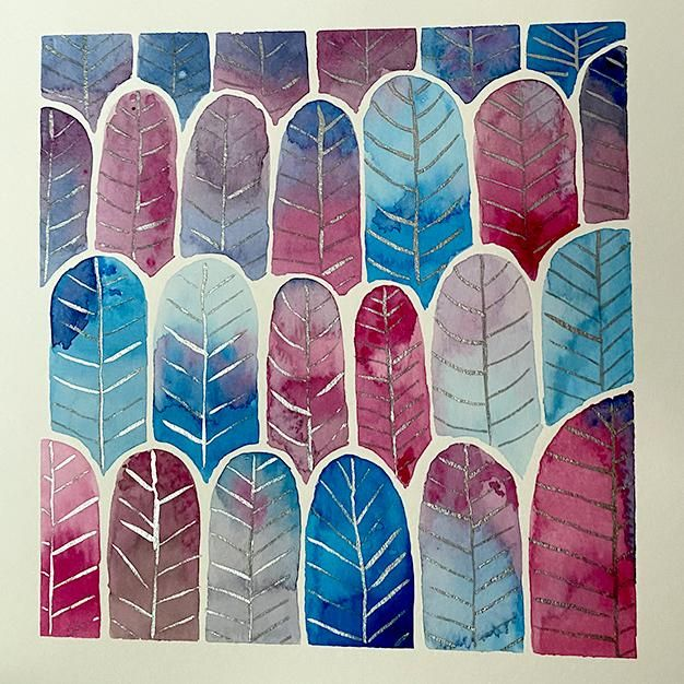 Watercolor Feather Forest pattern - image 2 - student project