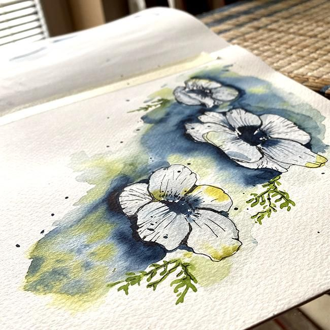 Modern Anemones in Watercolor and Ink - image 2 - student project