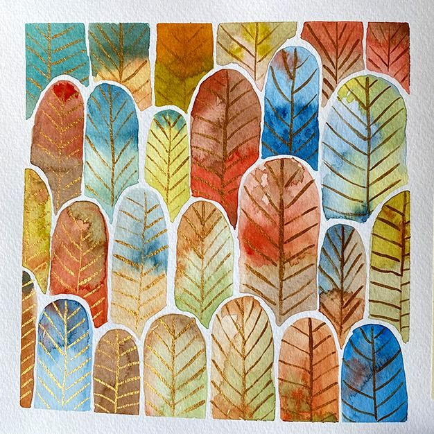 Watercolor Feather Forest pattern - image 1 - student project