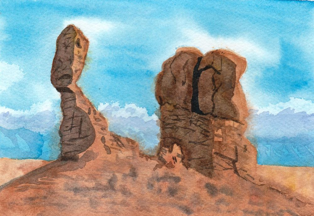 rocks in watercolor and gouache - image 1 - student project