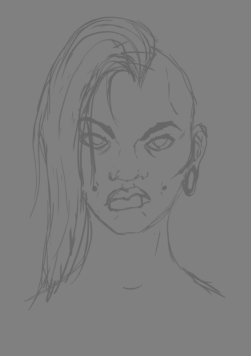 Head Study (Male, Female, Villain, Punk Girl, Buddy) - image 12 - student project