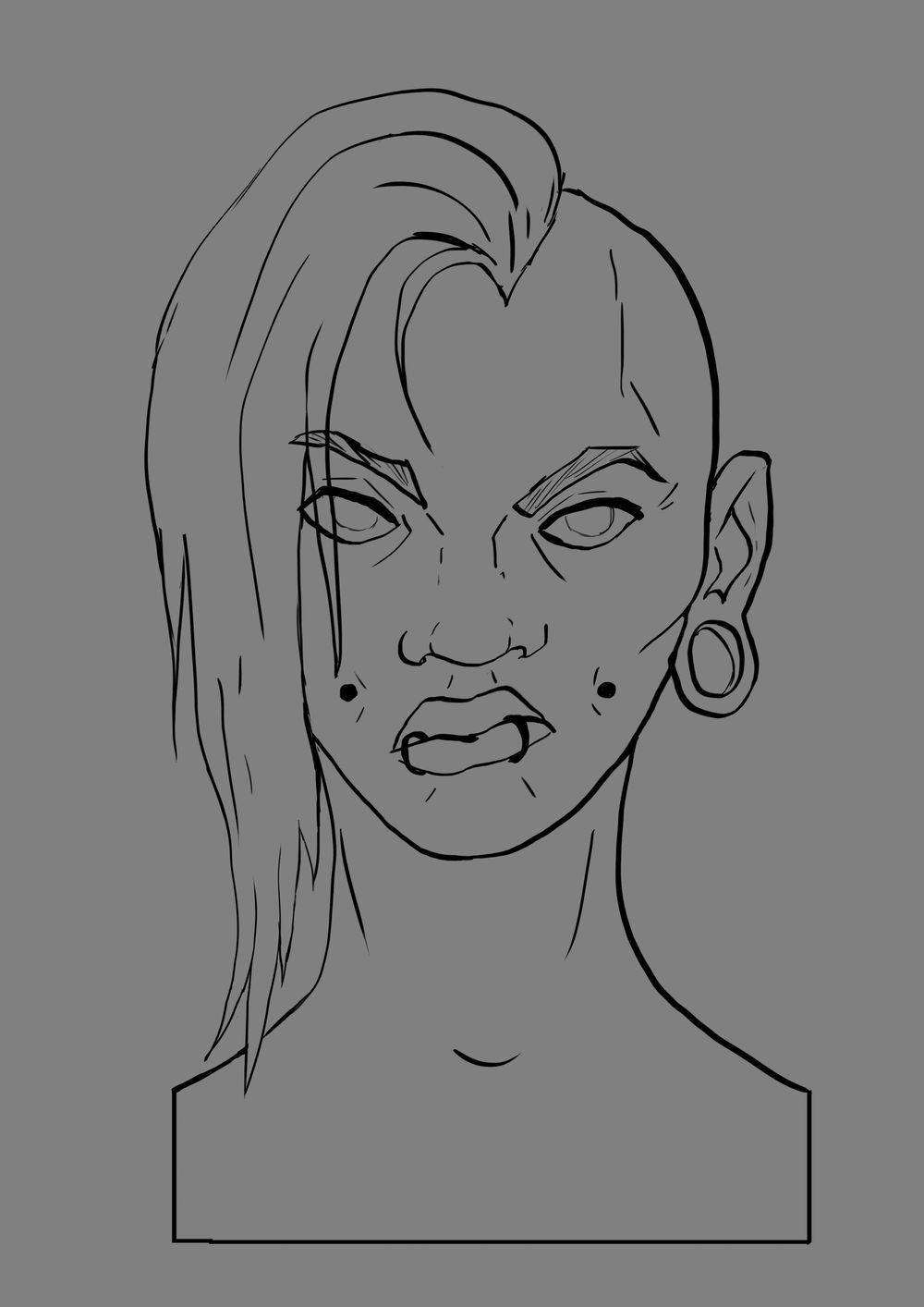 Head Study (Male, Female, Villain, Punk Girl, Buddy) - image 13 - student project