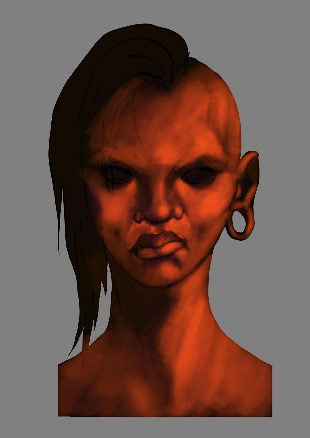 Head Study (Male, Female, Villain, Punk Girl, Buddy) - image 14 - student project