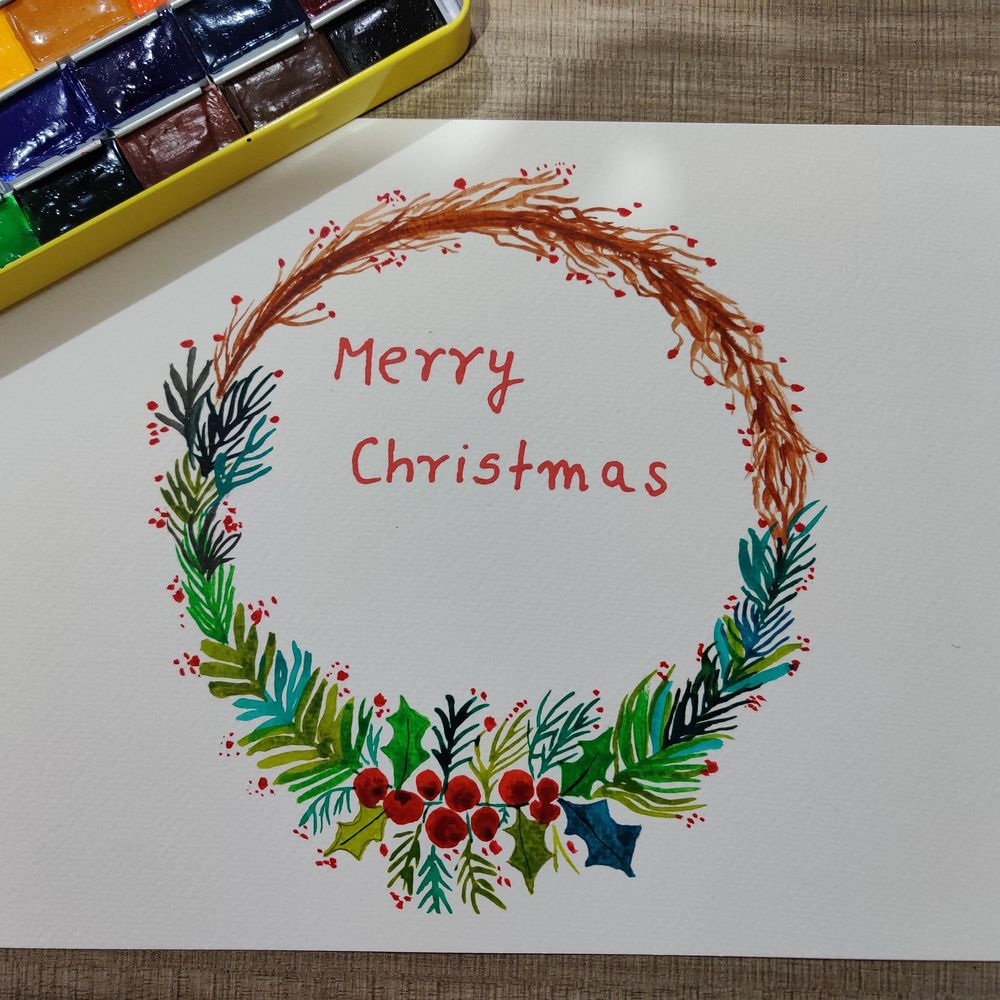 Christmas Watercolour Wreath - image 1 - student project