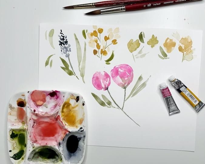 Watercolor Loose Florals - image 1 - student project