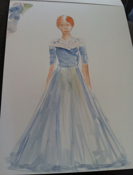 Watercolor Drawing - Night on the Town in a Gown - image 1 - student project