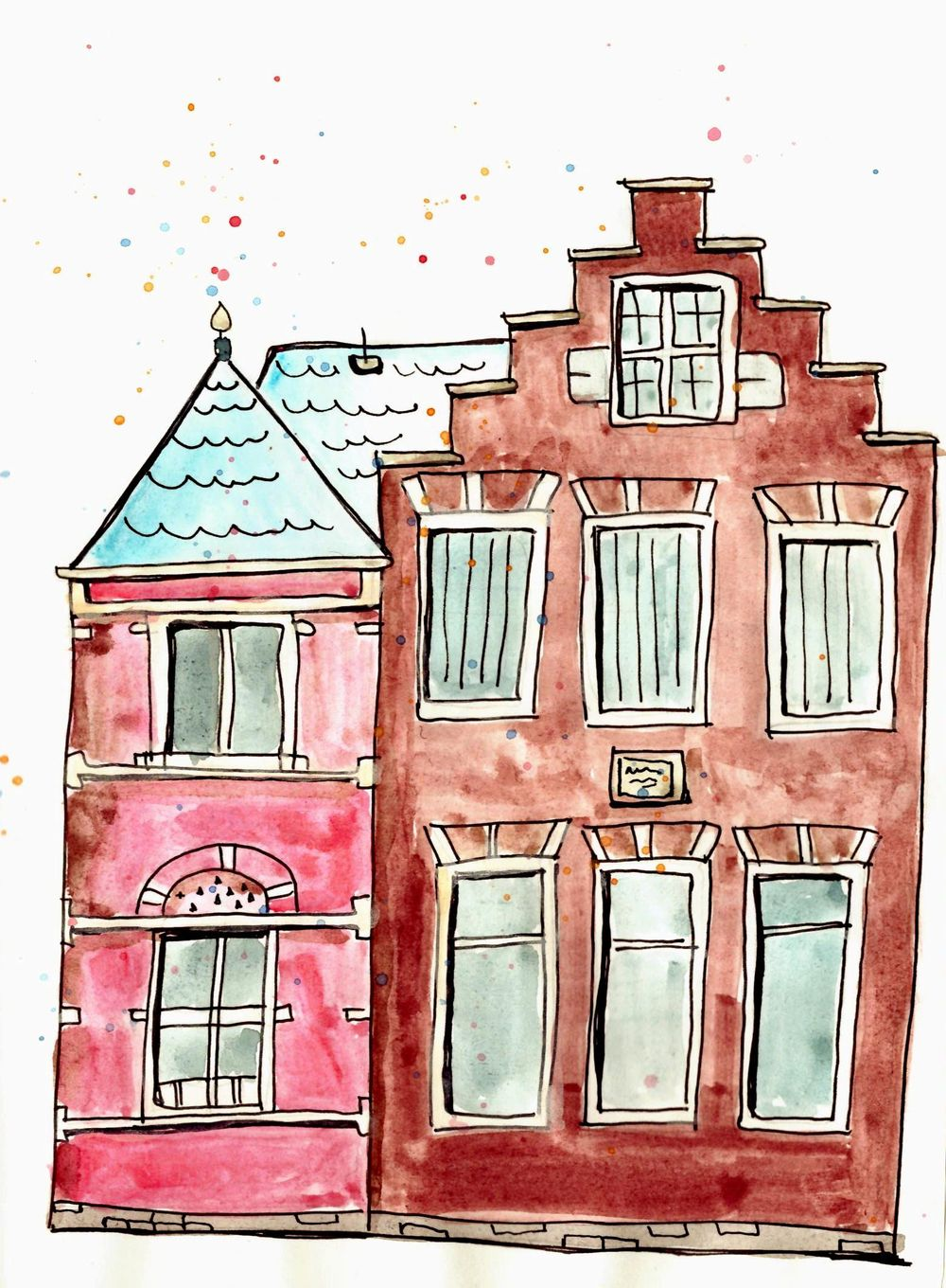 house urban sketch & watercolor  - image 1 - student project