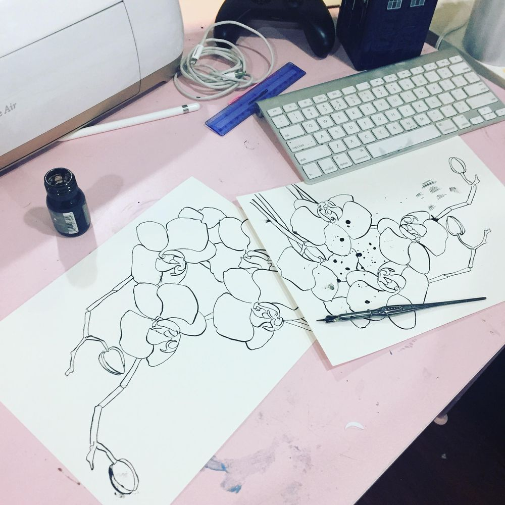 Pen & Ink Irises - image 2 - student project