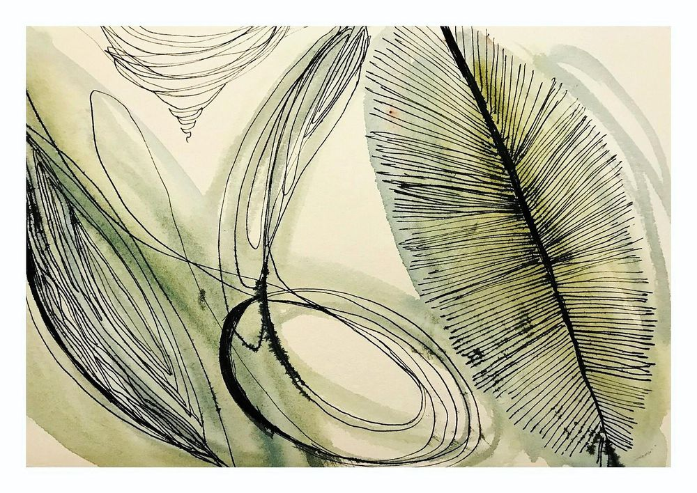 Watercolor Botanicals  with Ink Details - image 2 - student project