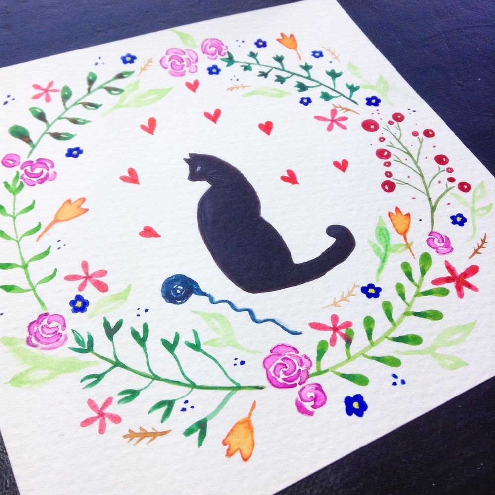 Floral wreath with cat - image 2 - student project