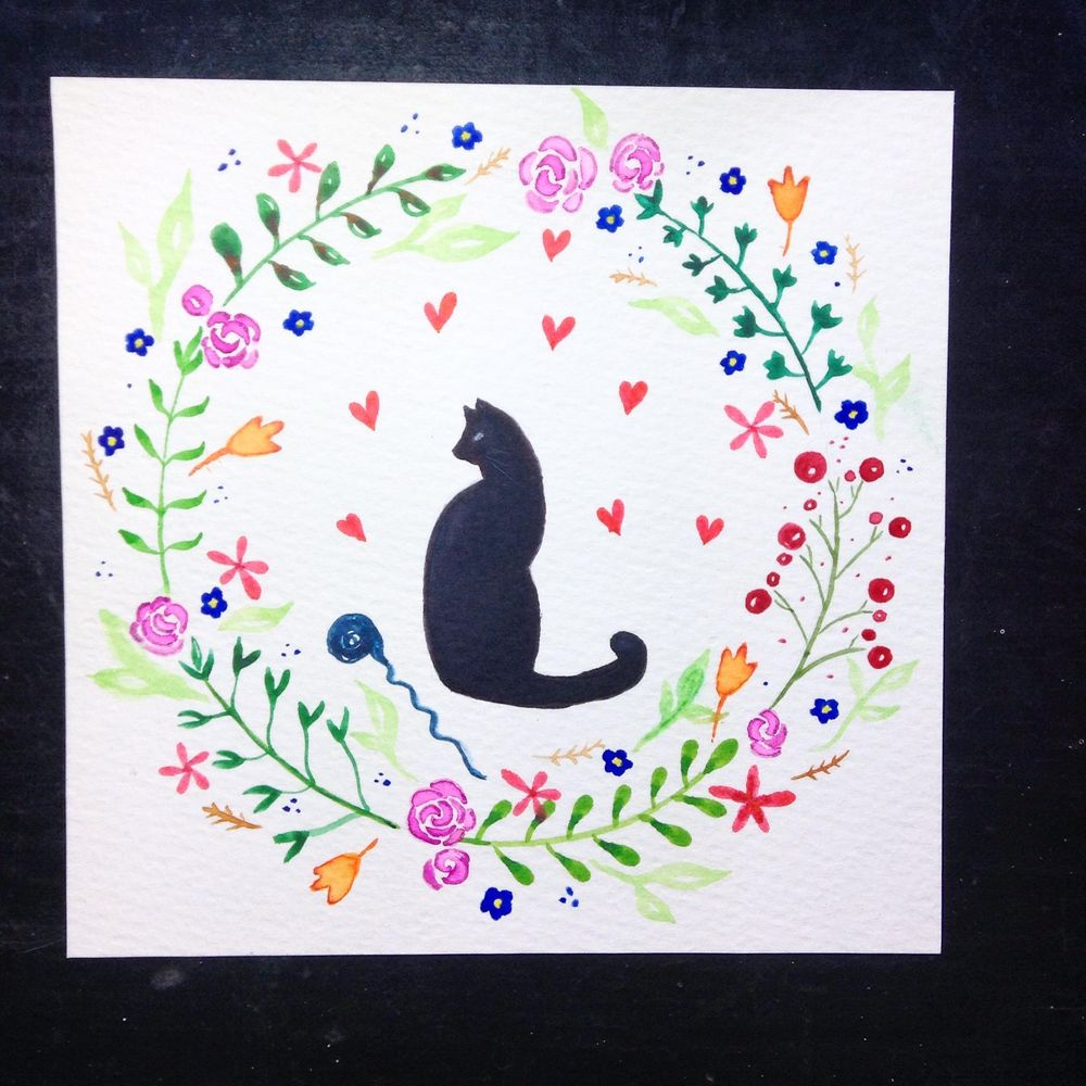 Floral wreath with cat - image 3 - student project