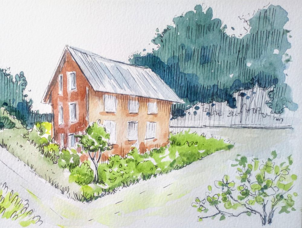 Greenery in Urban Sketching - image 15 - student project