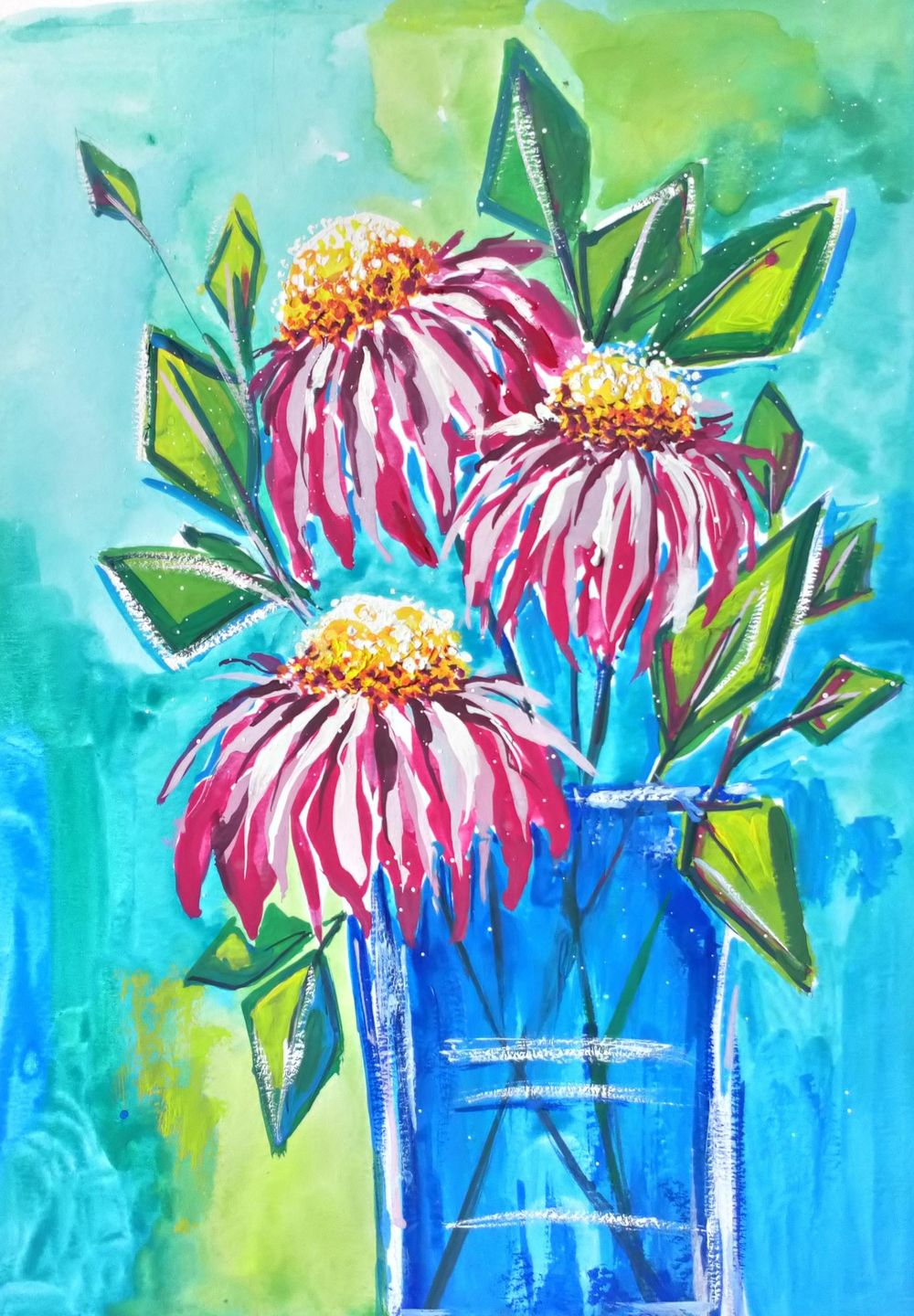 Paint with Me: Abstract Florals in Gouache Echinacea - image 1 - student project