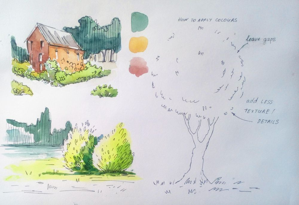 Greenery in Urban Sketching - image 14 - student project