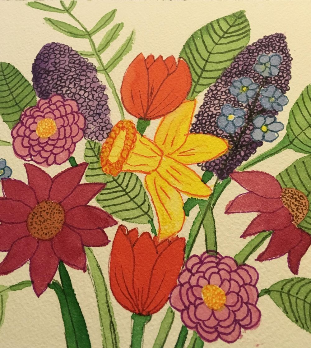 Florals, watercolor and tombow - image 1 - student project