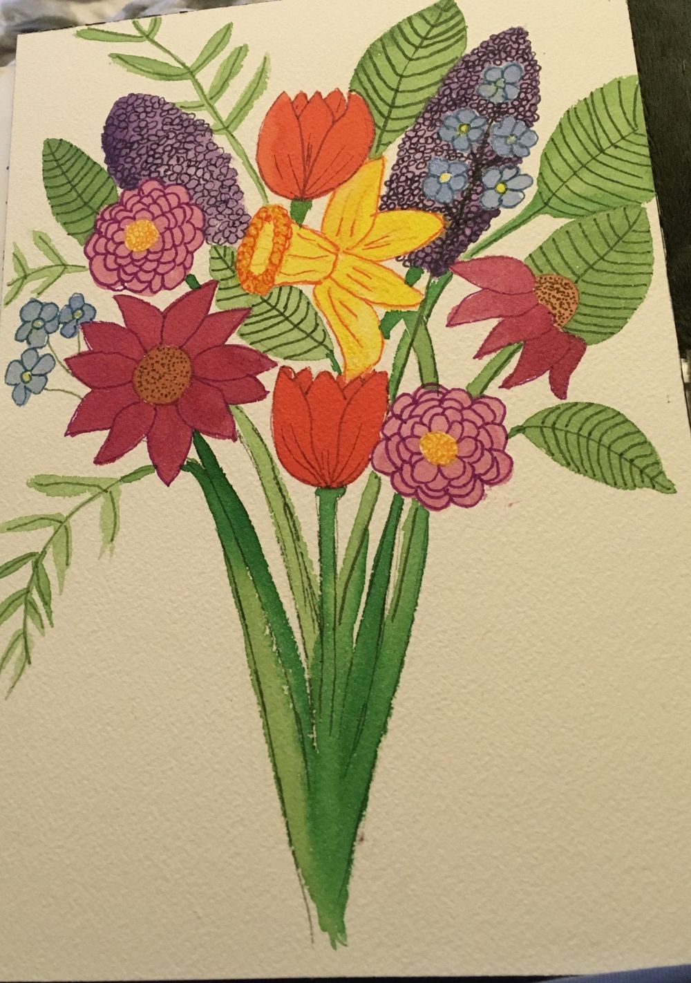 Florals, watercolor and tombow - image 3 - student project
