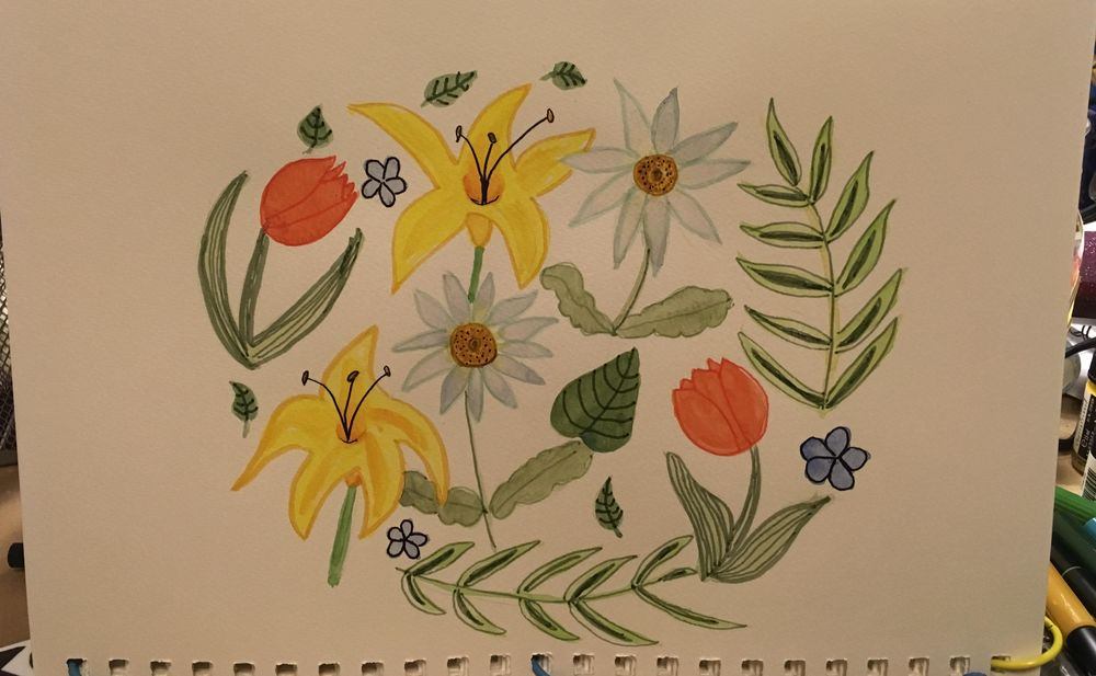 Florals, watercolor and tombow - image 2 - student project