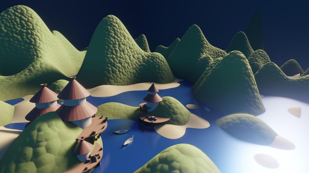 The Huts - blender draft - image 1 - student project