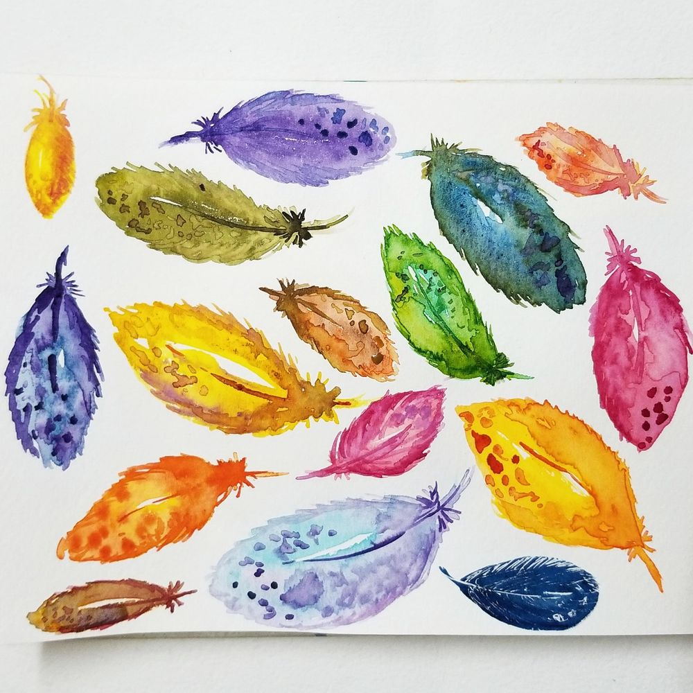 Feather painting - image 1 - student project