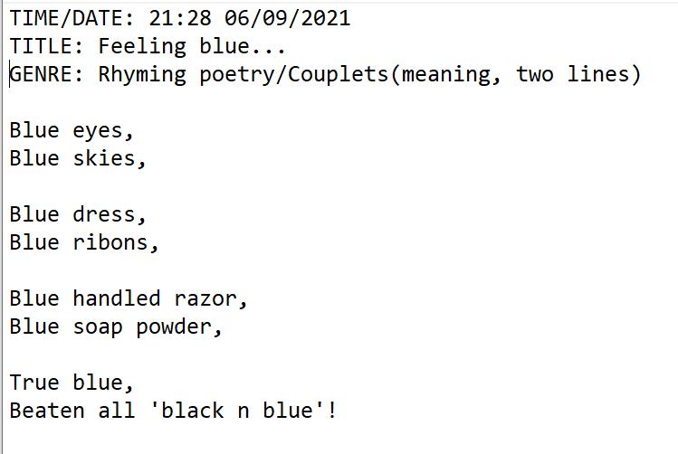 Paul Ramnora Beginner Poems - image 7 - student project