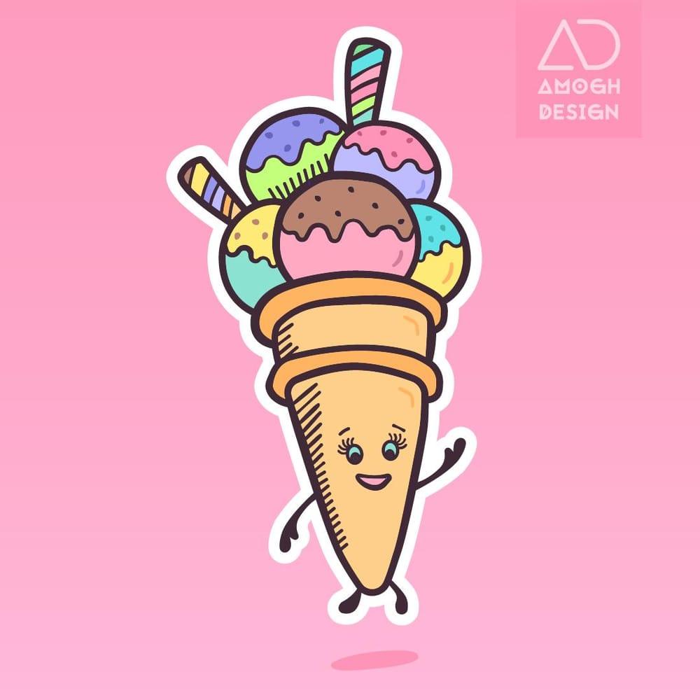 Cute ice cream illustration - image 1 - student project
