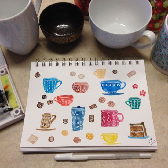 Watercolor tea cups - image 1 - student project